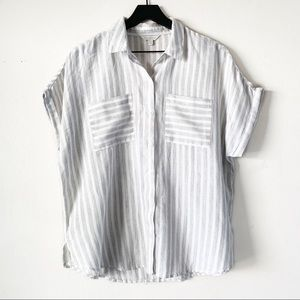 Lucky Brand | Striped Button Up Short Sleeve Tee L